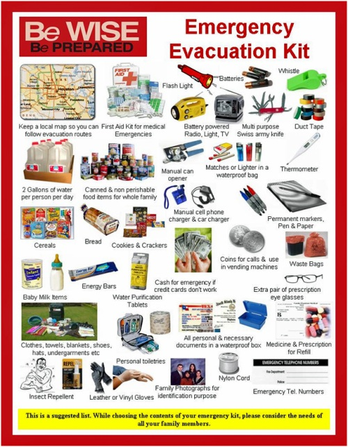 Lists of items to have ahead of a disaster